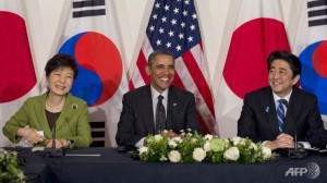 President of South Korea Park Geun-hye, President Obama and Prime minister Shinzo Abe during their trilateral meeting in The Hague.