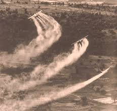 U.S. warbirds dropping their payload of Agent Orange over the Vietnamese jungle.